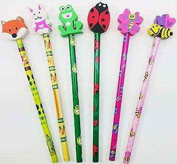 d23e386e24 6 Cute Animal Eraser Topper Pencils Girl Boy Stationery School Gift  Stocking Party Bag Filler Present