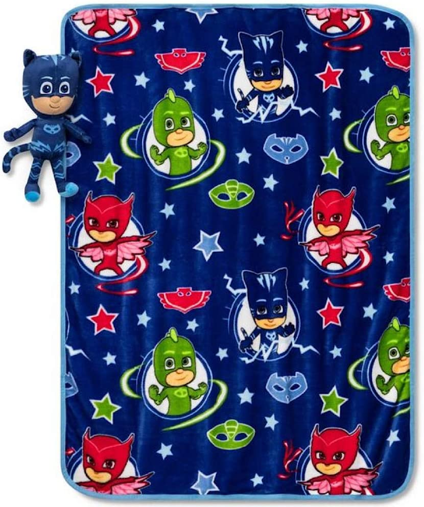 PJ Mask Kids Throw Blanket and Catboy Pillow Buddy