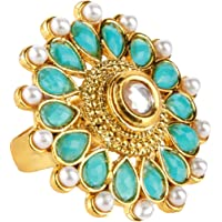 Yellow Chimes Traditional Crystal Studded Classic Gold Plated Ring for Women (Blue;White) (YCTJRG-01TURQ-BL)