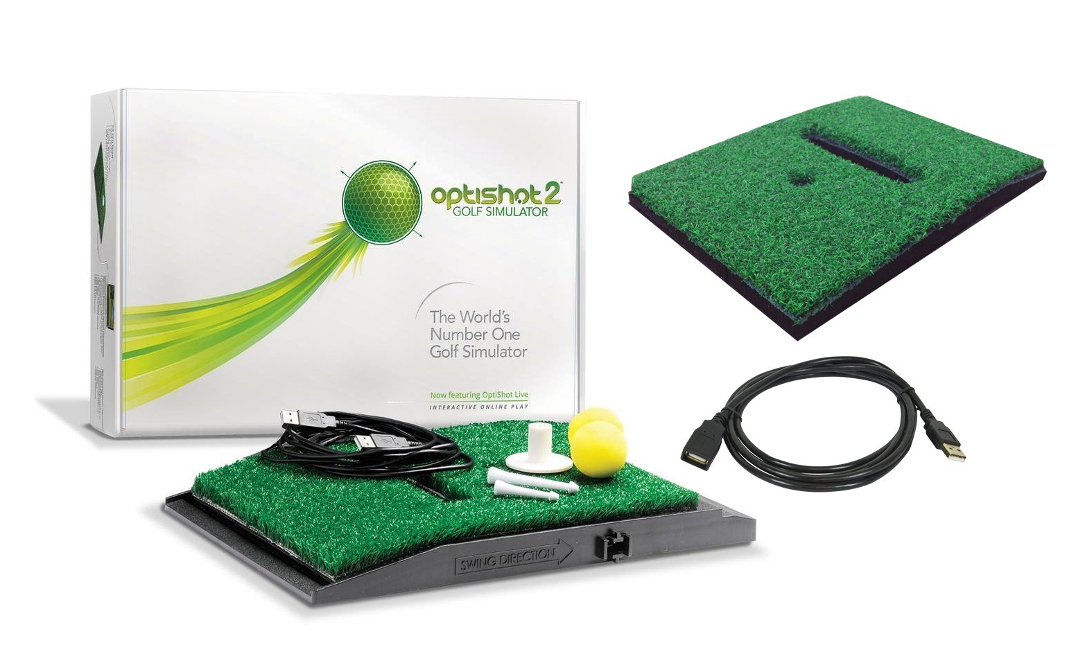 OptiShot 2 Golf Simulator (Mac & PC) Bundle | Includes Extra Replacement Turf and 15ft USB Extension Cable