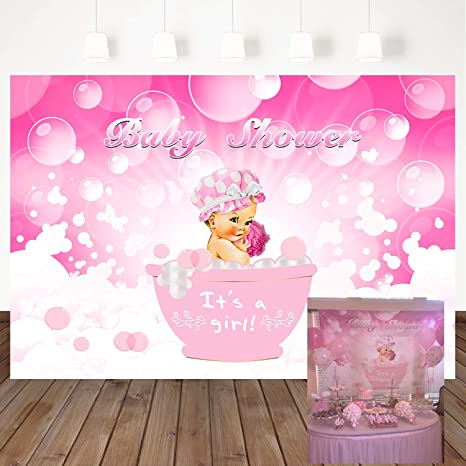 f2b5de6ab12f2 Mehofoto Baby Shower Photography Backdrops Baby Girl Bath Background 7x5ft  Pink Bubble Bathtub Vinyl Backdrop Photo