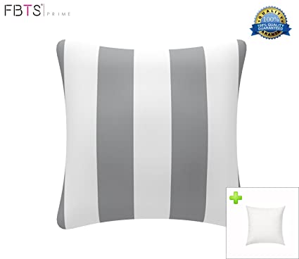 FBTS Prime Outdoor Decorative Pillows With Insert Grey And White Stripe  Patio Accent Pillows Throw Covers