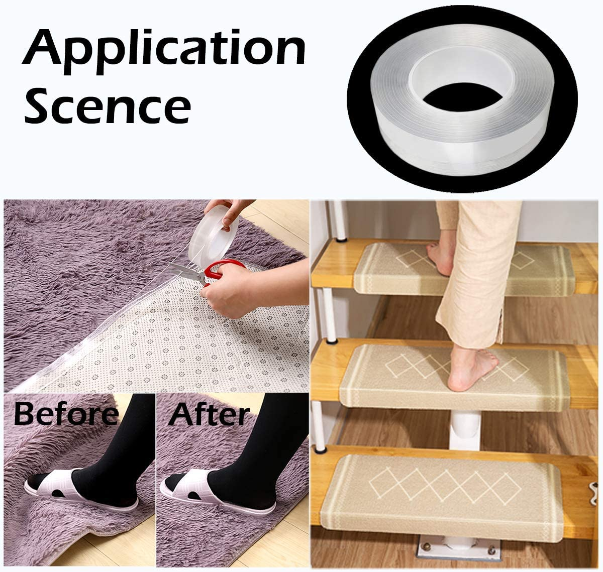 10 ft 2 Pack Home Kitchen Traceless Washable Adhesive Tape Caulk for Bathtub Bathroom Shower Toilet Kitchen Wall Sealing