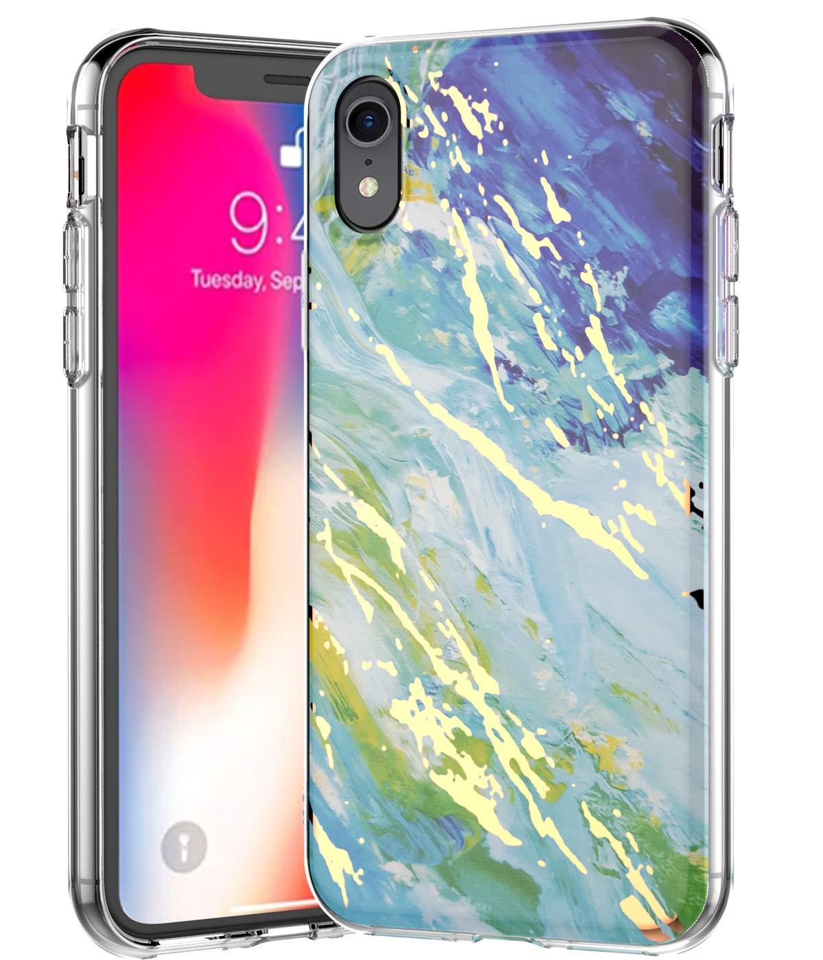 BSLVWG iPhone XRケースに対応超薄型大理石ストーンパターンハイブリッドハードバックソフトTPUレイズドエッジスリム保護ケース耐衝撃ケースカバーiPhone XR 6.1インチ(ブルー/グリーン)   B07H9PXL15