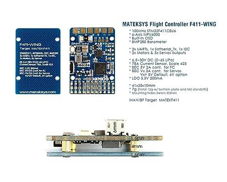 Amazon com: Matek System F411-WING Flight Controller w/Built