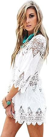 Jeasona Women's Bathing Suit Cover Up Lace Crochet Pool Swim Beach Dress