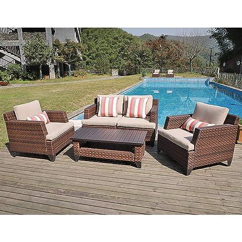 SUNSITT 5-Piece Outdoor Furniture Sofa Set Brown PE Rattan Wicker Patio Conversation Set Coffee Table with Aluminum Slatted Top