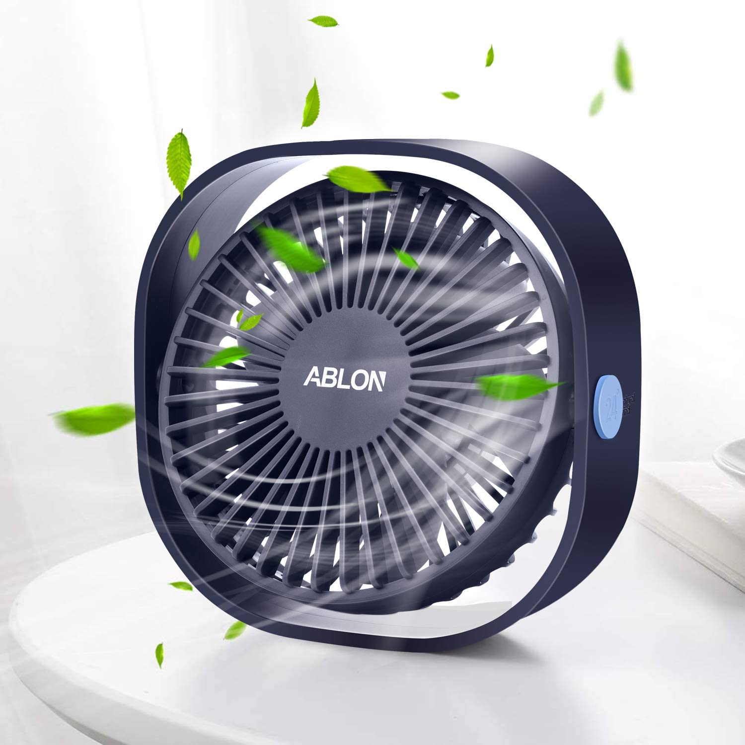 Ablon Desk Fan, Small Table Personal Portable Mini Fan Powered by USB, 3 Speed and Quiet Design for Office, Home,Outdoor Travel Navy Blue