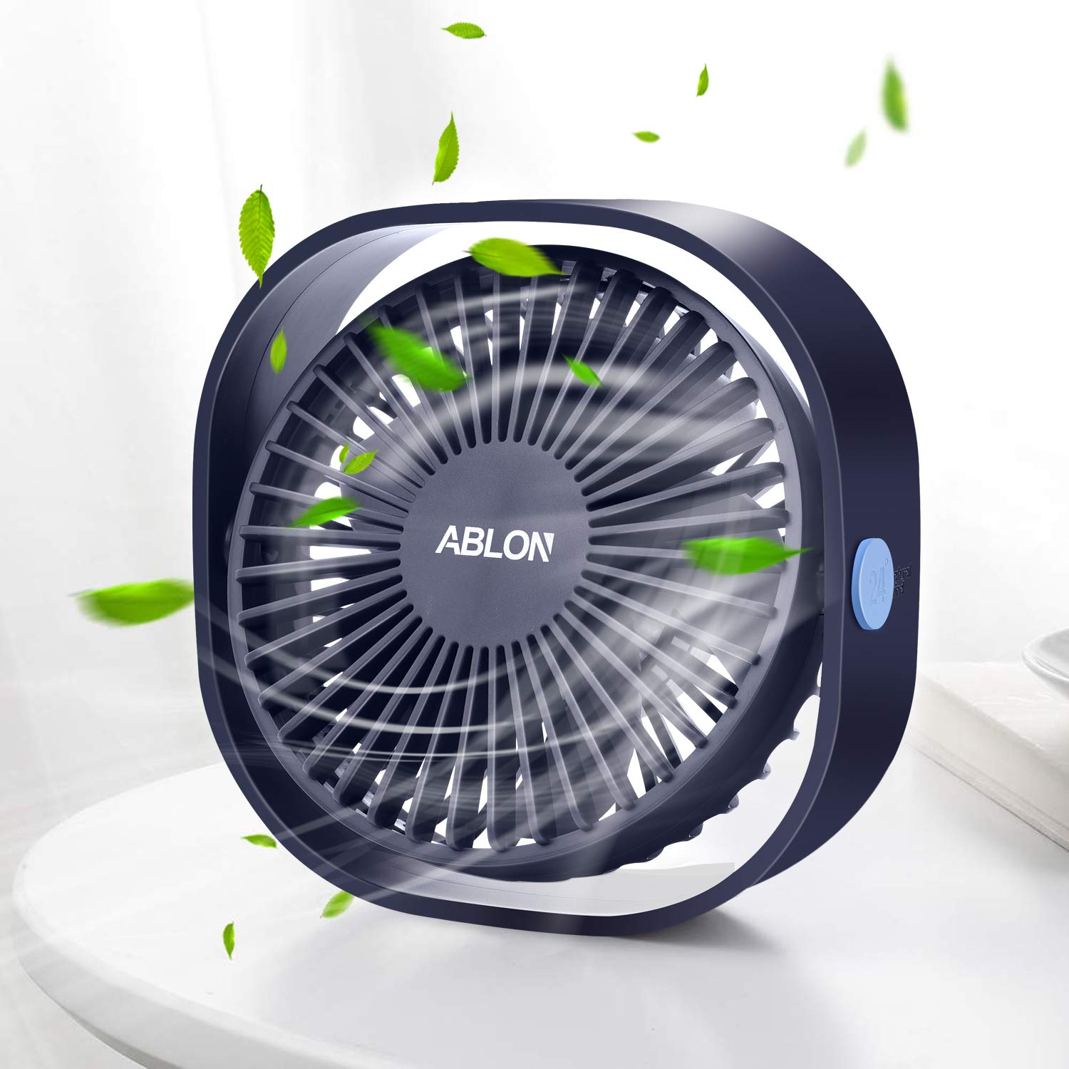 Ablon Desk Fan, Small Table Personal Portable Mini Fan Powered by USB, 3 Speed and Quiet Design for Office, Home,Outdoor Travel(Navy Blue) by Ablon