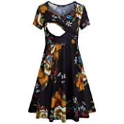 Quinee Maternity Dress Short Sleeve,Ladies Fashion Floral Pattern Round Neck Double Layers Post Baby Cotton Blend Plus Clothing Simple Swing Hew BreathableBaby Shower Dresses Black XL