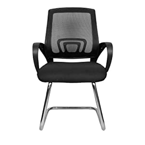 Rajpura Voom Medium Back Visitor Chair in Black Fabric and Black mesh/net Back Office Executive Chair