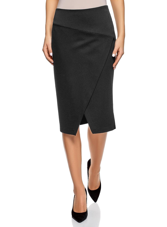 8a219cfff oodji Ultra Women's Jersey Skirt with Diagonal Cut at Amazon Women's  Clothing store: