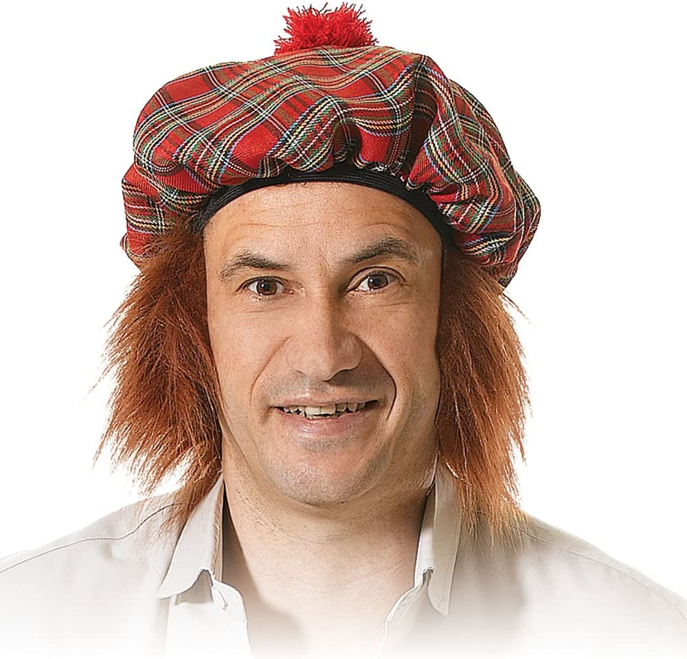 Adults Scottish Tam O Shanter Tartan Hat Mens Fancy Dress Party Ginger Hairs Hat