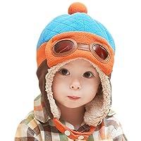 CHIC-CHIC Garçons Fille Bébé Hiver Chaud Cap Chapeau Bonnet Aviateur Pilote Crochet Earflap Chapeaux Déguisement (Bleu, 1-3 ans)