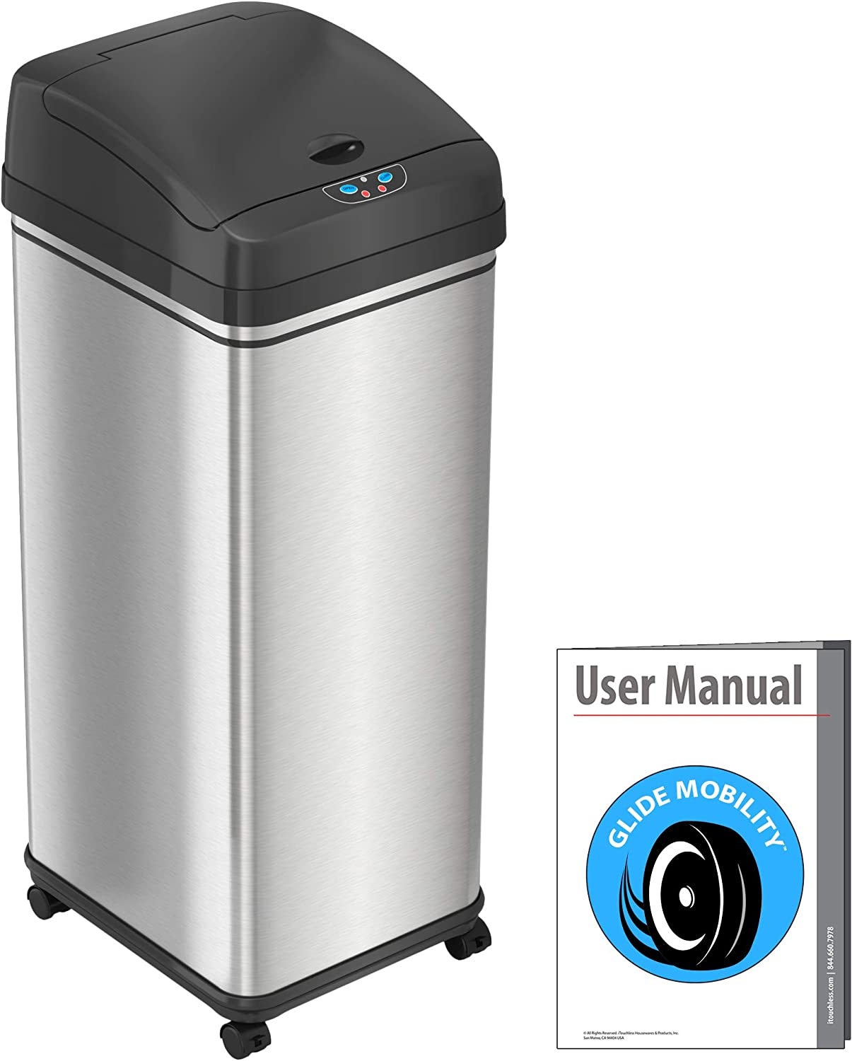 iTouchless Glide 13 Gallon Sensor Garbage Can with Wheels and Odor Control System, Stainless Steel, Automatic Kitchen Bin and Office Trash Bin (Powered by Battery or Optional AC Adapter)