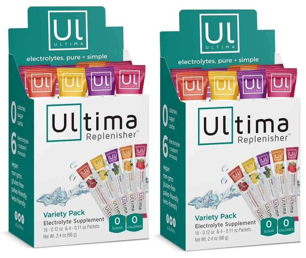 Electrolyte Powder - Balanced, Hydrating Electrolyte Replacement - Variety Pack Single Serve 20 Count Stickpacks (Pack of 2) by Ultima Replenisher (Image #1)