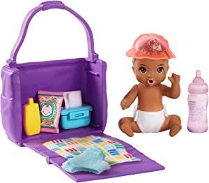 ​Barbie Skipper Babysitters Inc. Feeding and Changing Playset with Color-Change Baby Doll, Open-And-Close Diaper Bag and 7 Accessories
