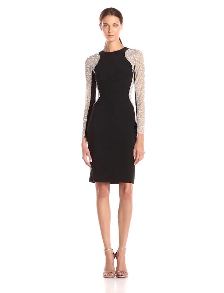 Amazon.com: Xscape Womens Short Ity Beaded Long Sleeve Dress, Black/Nude/Silver, 8: Clothing