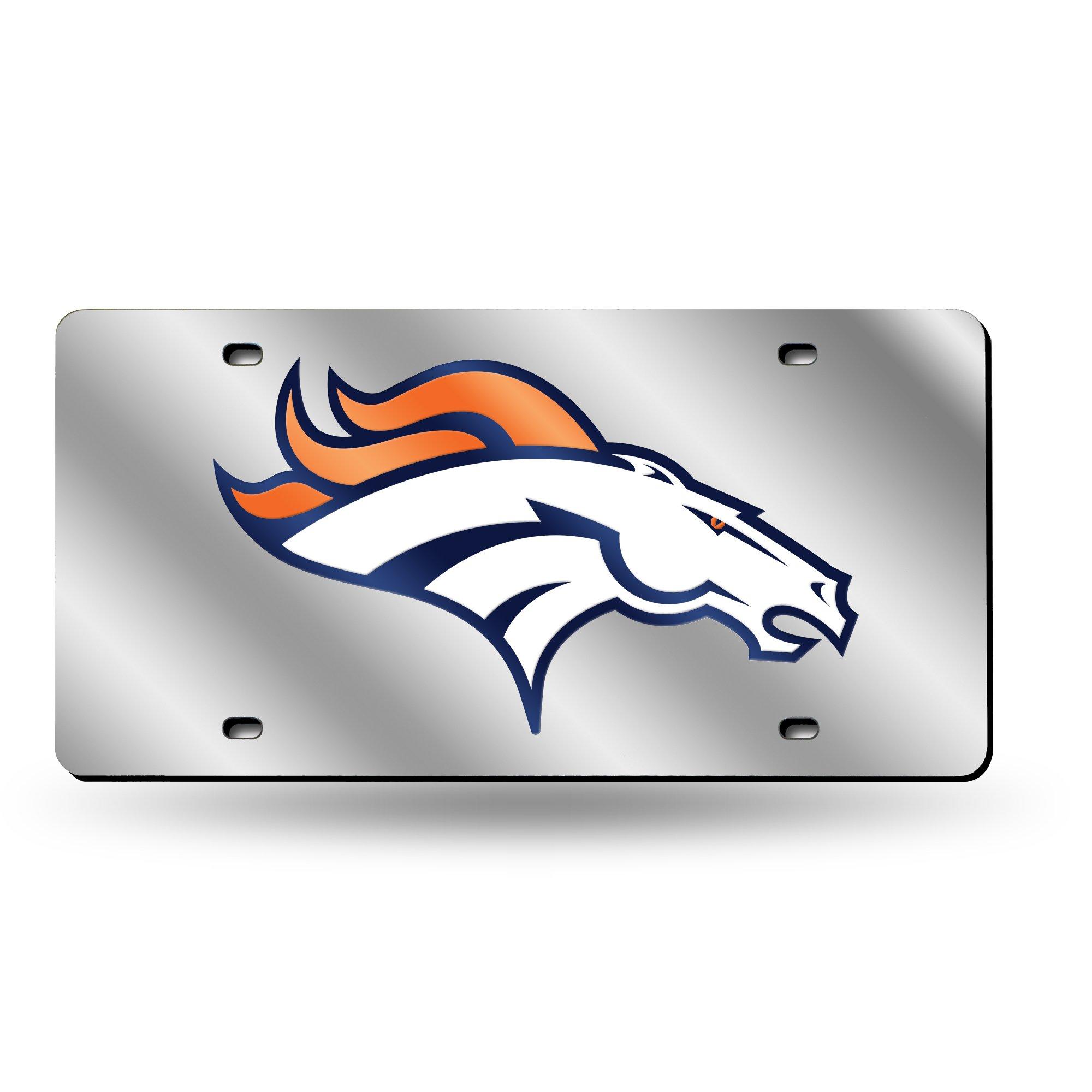 Rico Industries NFL Denver Broncos Laser Cut Auto Tag, Silver