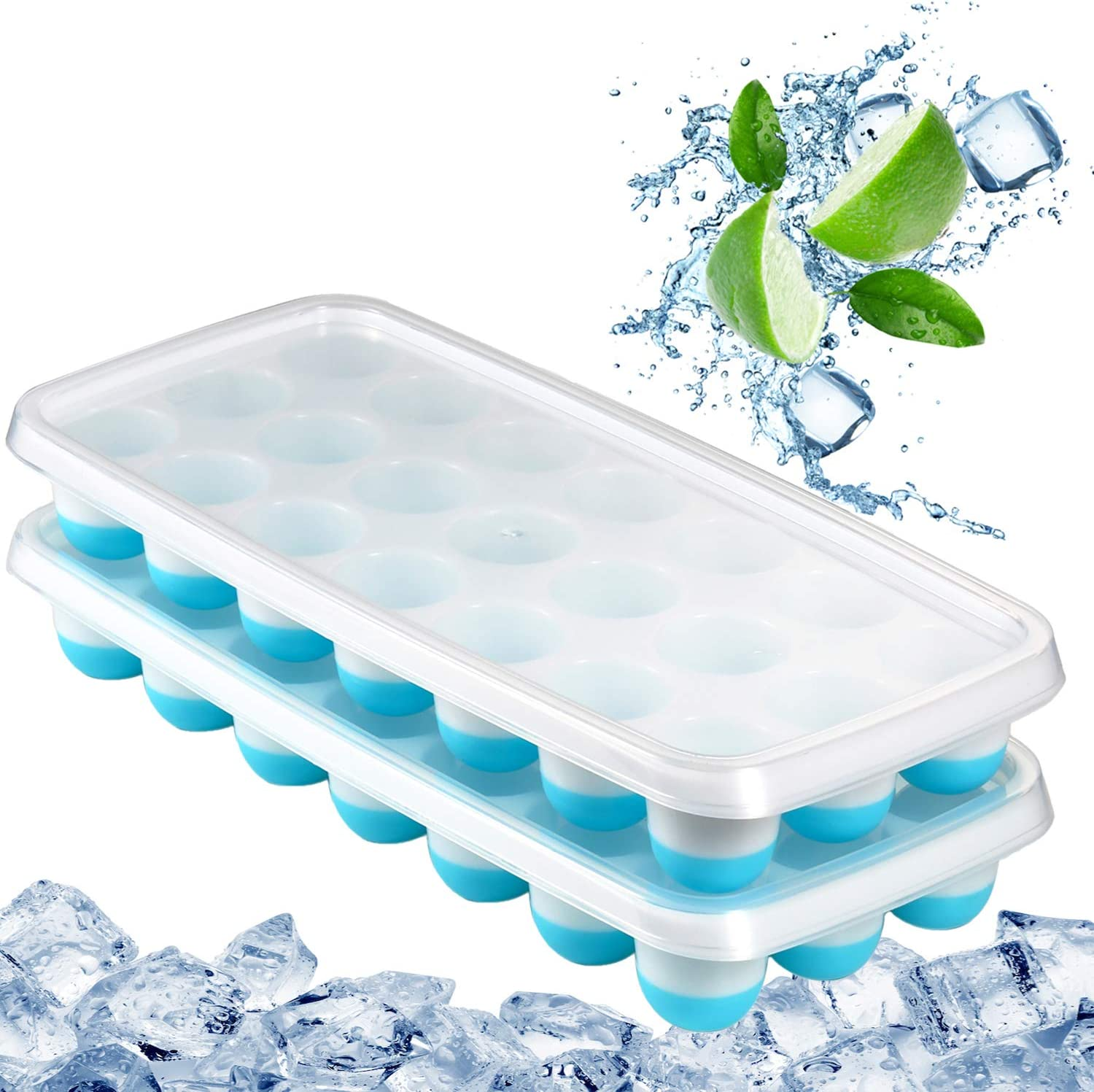 Easy-Release Mini Ice Tray Molds Blue 2 Pack Silicone Ice Cube Trays with Lid