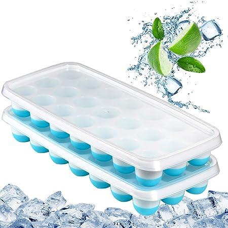 Bandejas para cubitos de hielo, fácil de liberar, tapa resistente ...