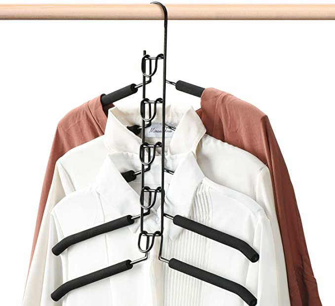 karrychen 3D Space Saving Magic Clothes Hanger with Hook Cabinet Organizer 360 Rotation