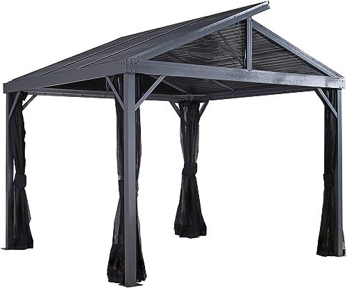 Sojag 8 x 8 Sanibel II Hardtop Gazebo Outdoor Sun Shelter, Light Grey