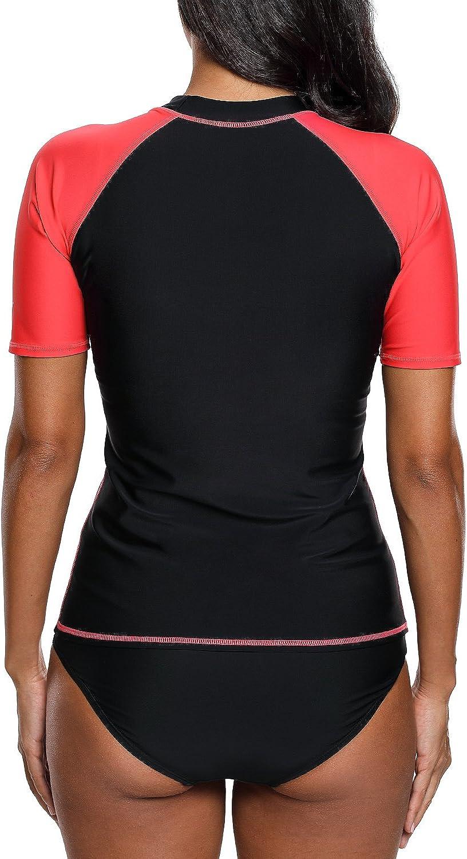 ATTRACO Women UV Rash Vest Short Sleeve Rash Guard Swim Top