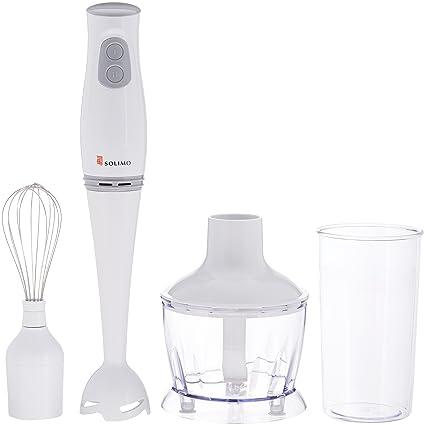 Amazon Brand - Solimo 200-Watt 3-in-1 Hand Blender with Blending Jar, Chopper Bowl, Whisking Attachment
