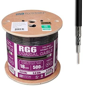 RG6 500ft Dual Shield Coaxial Cable, 3.0 Ghz Outdoor Sunlight Resistant Cl2 Rated, 18