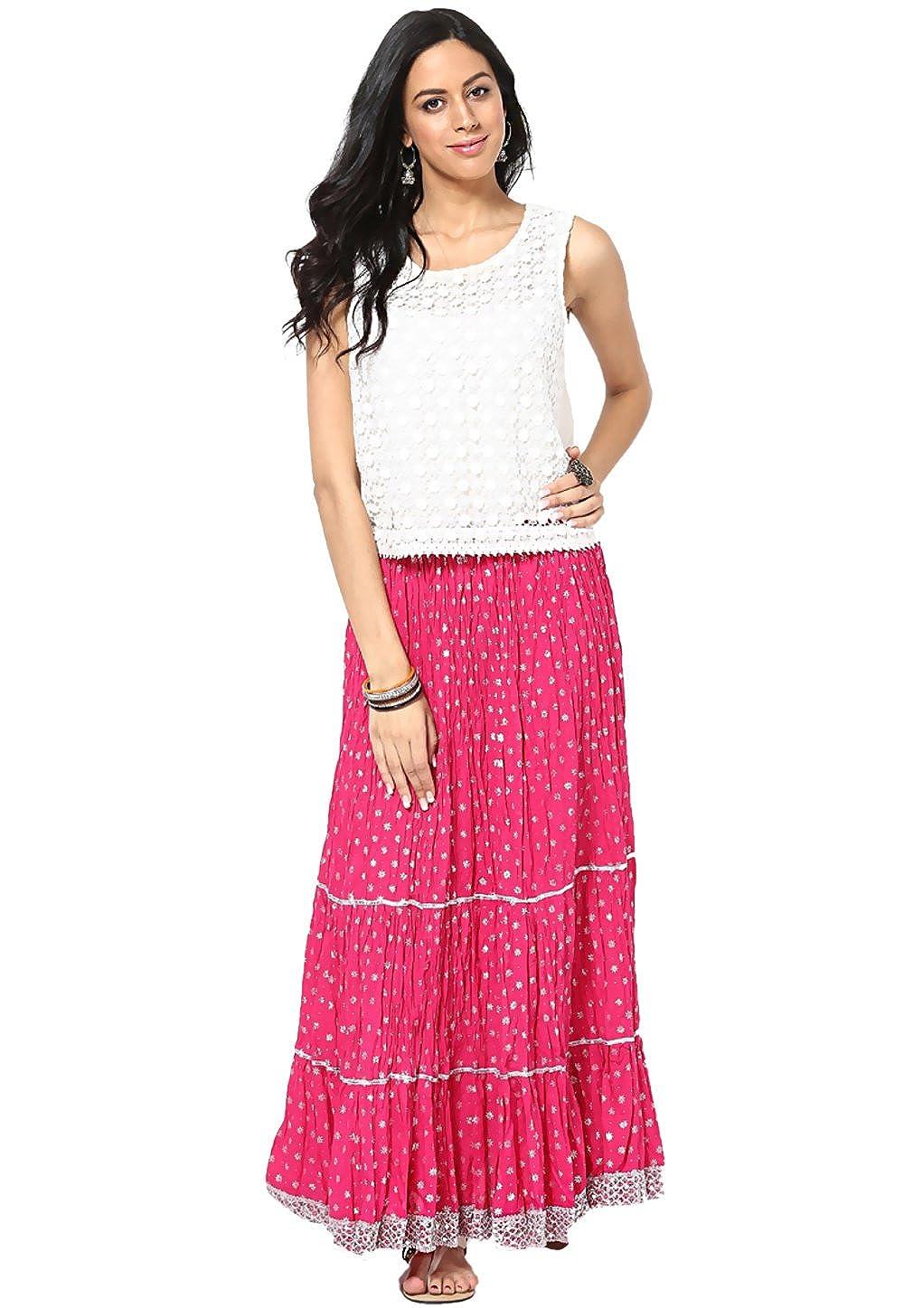 Utsav Fashion - Falda - para mujer Rosa fucsia 58: Amazon.es: Ropa ...