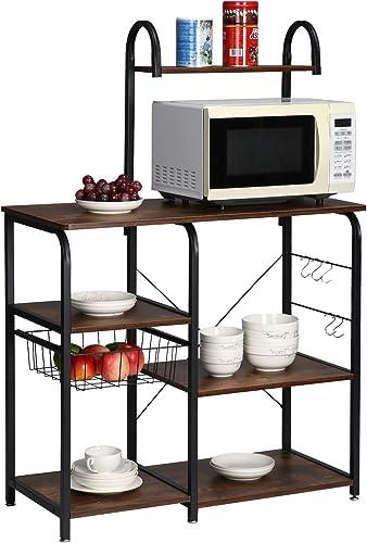 KINGSO Kitchen Bakers Rack Utility Storage Shelf 35.4″ Microwave Stand Kitchen Shelf Organizer Work Table