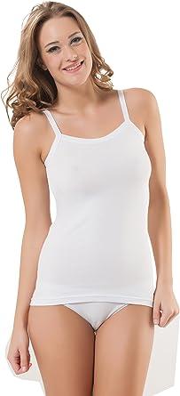 Elegant para mujer algodón Modal camiseta de tirantes Top Ropa interior blanco blanco Large: Amazon.es: Ropa y accesorios