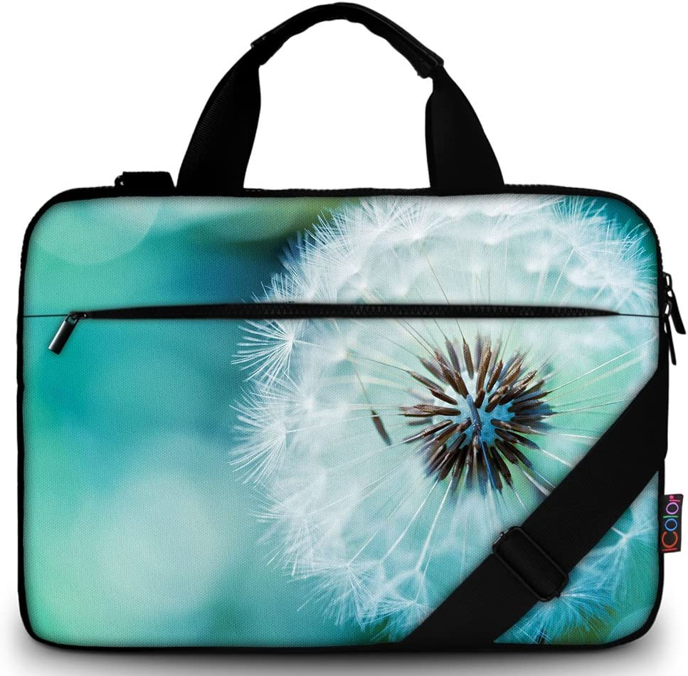 "iColor 11.6-12 13 13.3-inch Laptop Shoulder-Bag - Canvas Computer Tablet Carrying Case 13-13.3 inch Notebook Briefcase (12"" ~13.3"", Dandelion)"