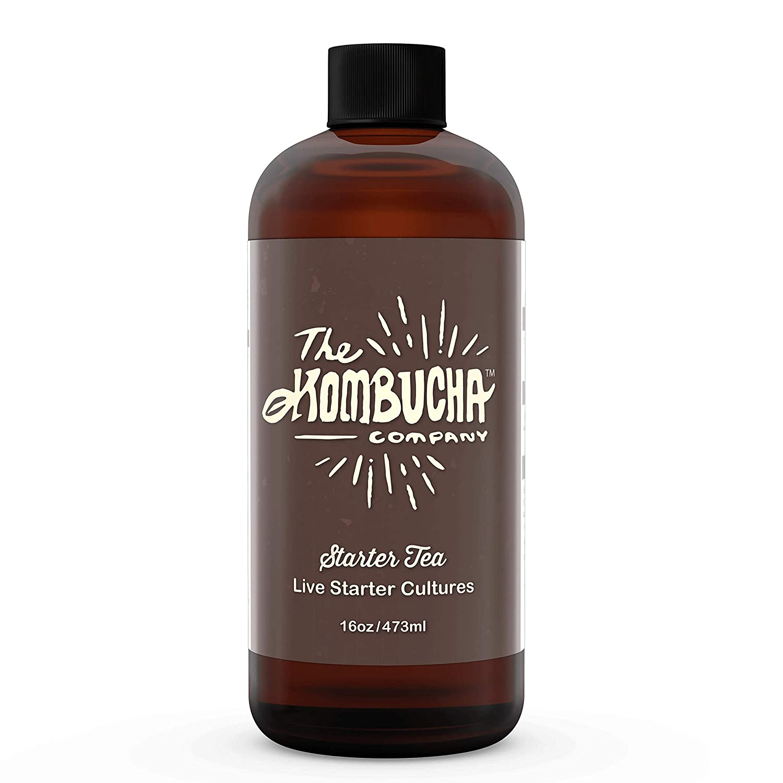 The Kombucha Company Starter Tea – 16 oz Bottle Liquid Organic Live Culture for Brewing 1 Gallon of Homemade Kombucha Tea – with Filtered, Purified Rainwater, Black Tea and Yerba Mate