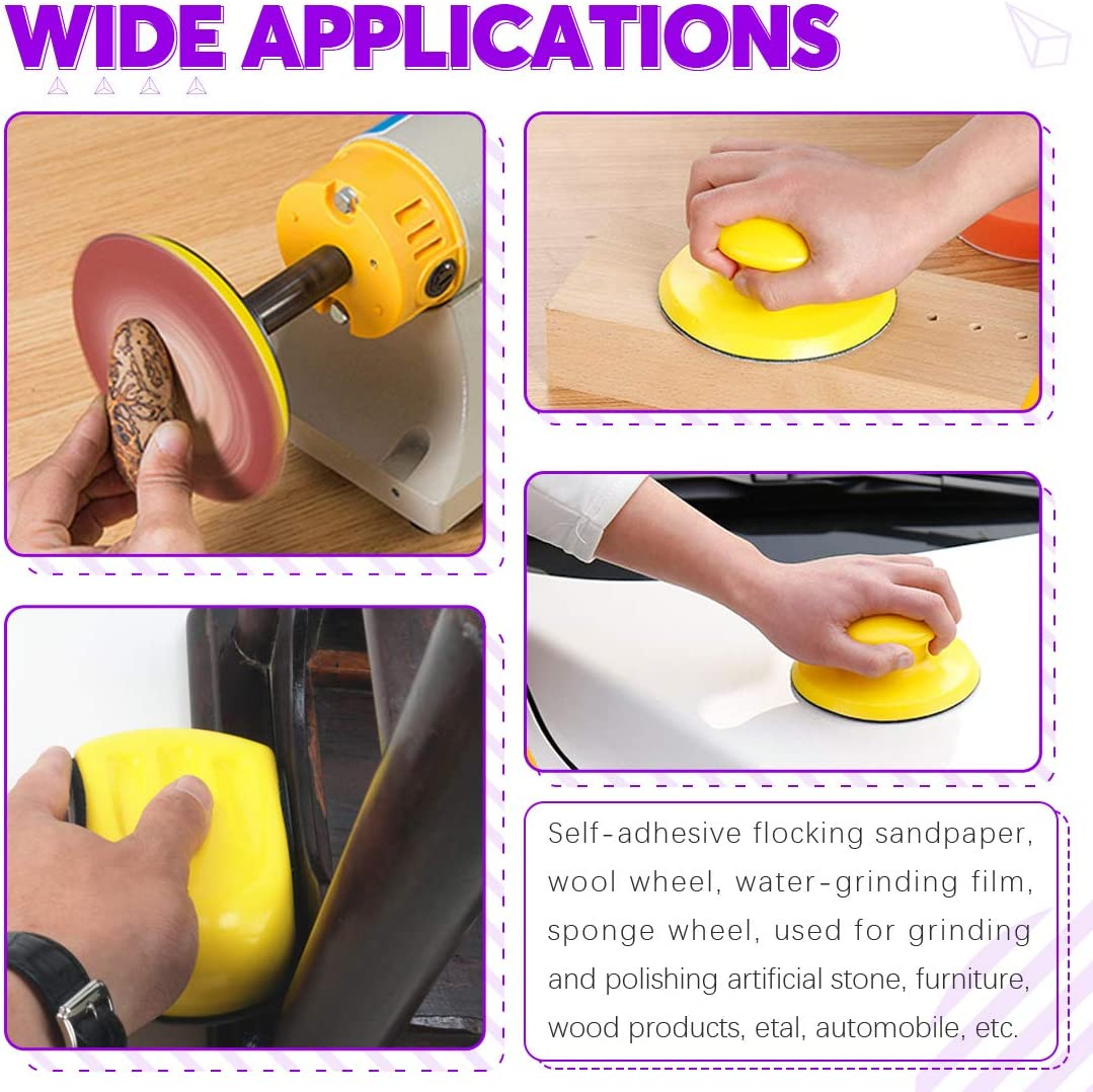 40//60//80//100//120//180//240//320//400//800 Grits Swpeet 62Pcs 10 Sizes 5 Inch 8 Hole Sanding Discs Sandpaper Hook and Loop Pads with Round Shaped Hand Sanding Blocks for Circular Sander Grits