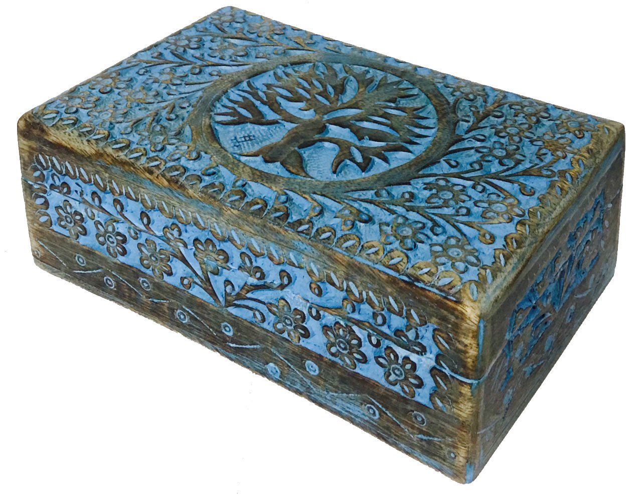 vrinda Wooden Hand Carved Tree of Life Box 8 inch x 5 inch. Vrinda®