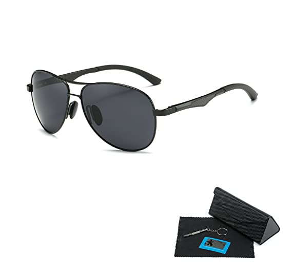 1691f650247b0 Shushu Jacob Men s Polarized Sunglasses UV400 Protection Vintage Aviator  Black Lens Black Frame