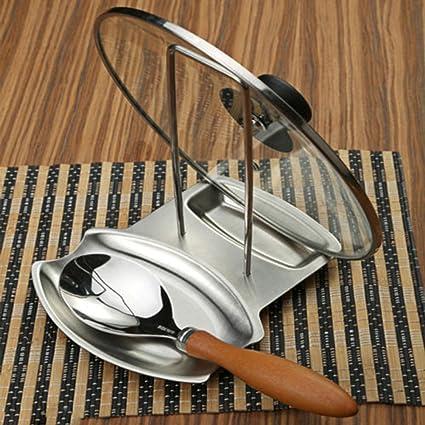 Pixnor Cocina tapa parrilla acero inoxidable bandeja soporte cubierta Rack tapa cuchara resto sostenedor de pote