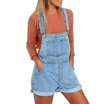 Utyful Women's Adjustable Straps Denim Bib Overalls Shorts Roll Cuff Shortalls: Clothing