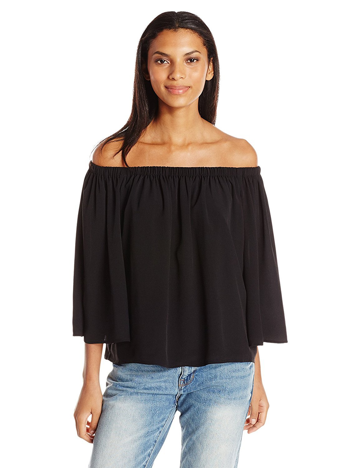 French Connection Women's Summer Crepe Light Bell Sleeve, Black, L