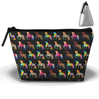 Cute Unicorn Floral Cosmetic Bags Portable Travel Toiletry Pouch Makeup Organizer Clutch Bag With Zipper