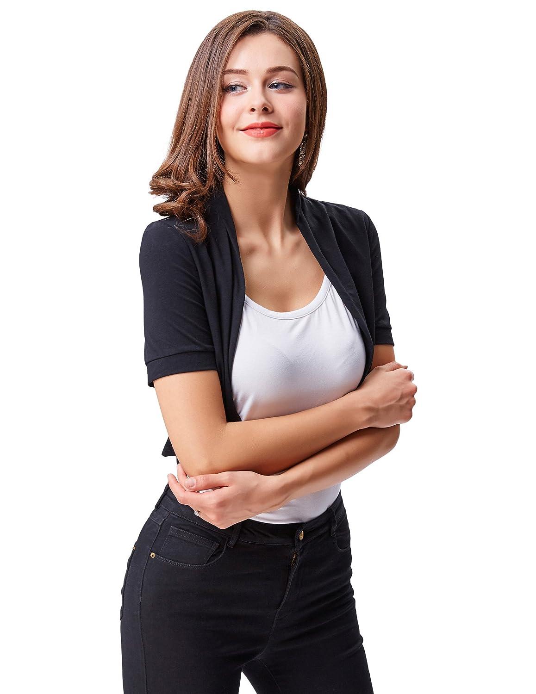 Belle Poque Donna Coprispalle Corta in Cotone a Maniche Corte con Frontale Aperto da Donna Bolero Shrug
