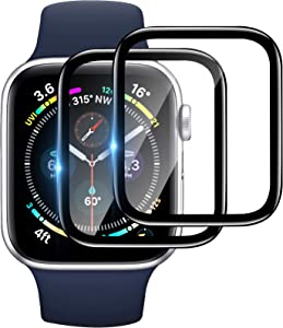 [2 Pack] Tempered Glass Screen Protector 40mm Compatible for Apple Watch Series 6/SE/5/4, EWUONU Full Coverage Waterproof 3D Curved Edge Anti-Scratch Bubble Free HD Clear Screen Film for iWatch 40mm