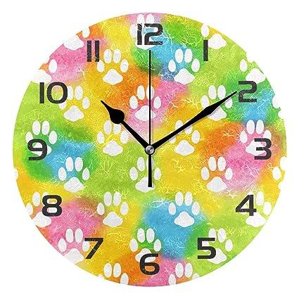 TropicalLife Colorful Dog Paw Print Decorative Wall Clock Acrylic Round Clocks Non Ticking Art Decor Bedroom