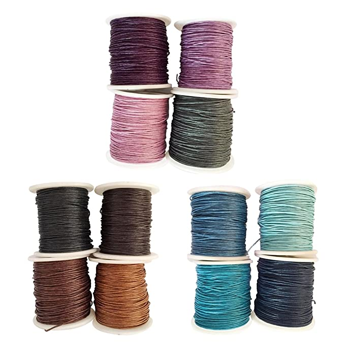 12 Rollen 80M gewachste Baumwolle Schnür Baumwollschnur Wachsband