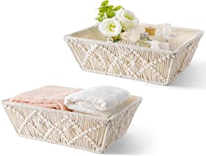 Mkono Macrame Storage Baskets Boho Basket with Cotton Liner Countertop Handmade Woven Home Decor Bins Storage Boxes for Bedroom Living Room Bathroom Dorm Organization, Set of 2