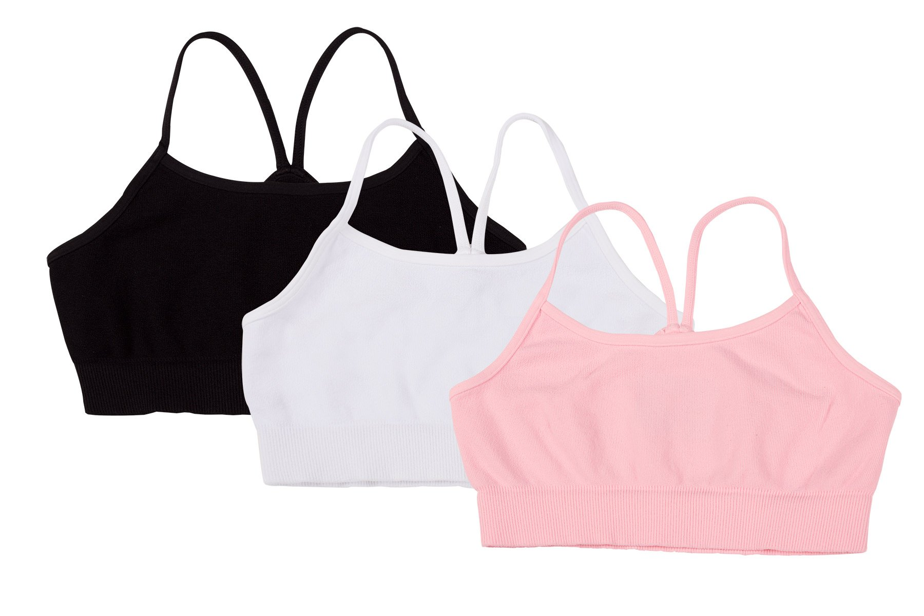 Kurve Girls' Nylon & Spandex Blended Crop Training Bra, UV Protective Fabric UPF 50+ (Made with Love in The USA)