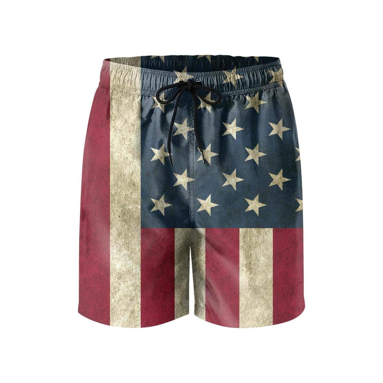 Mens Core Printed Quick Dry Swim Short-American Flag Eagle Style Beach Shorts