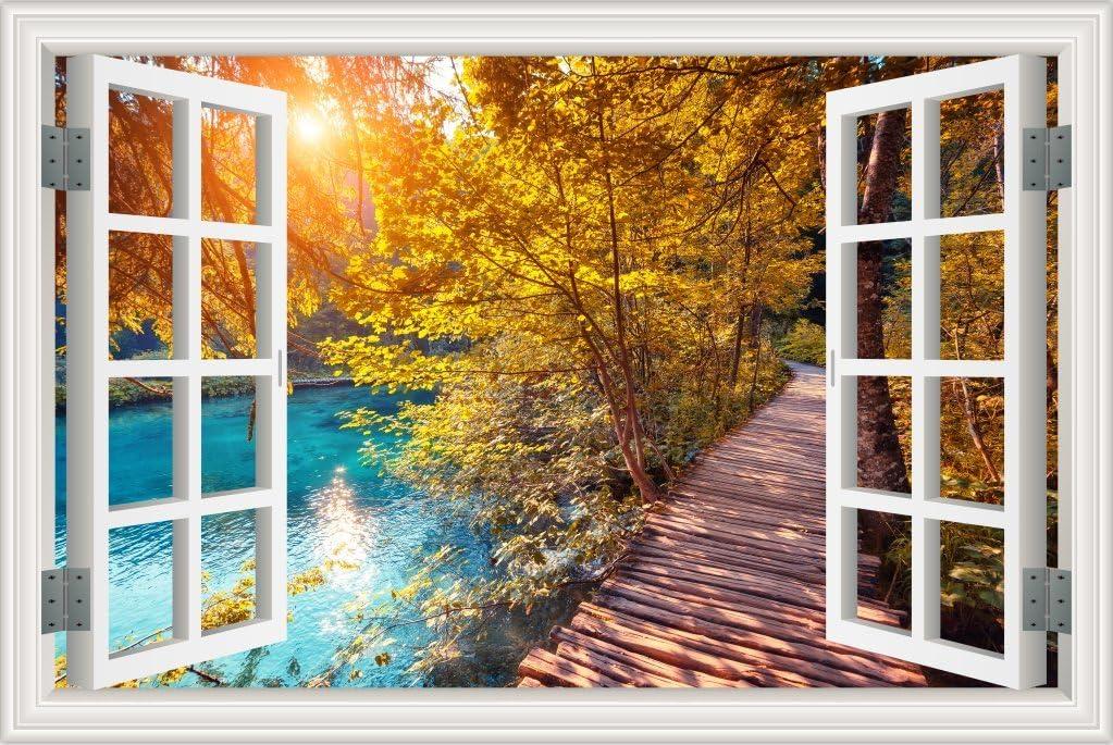 3D Maple Leaf Wooden Bridge Self-adhesive Living Room Door Murals Wall Stickers